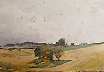 This watercolour is mottled with the brown blotches known as foxing.