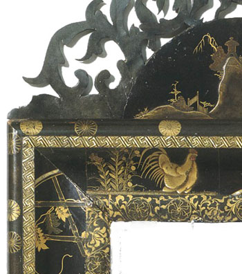 Detail of Chinese lacquer picture frame.