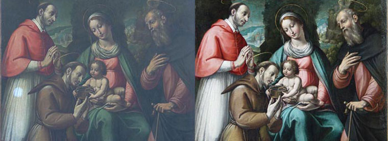 Before and after details of an oilpainting copied from Masaccio.