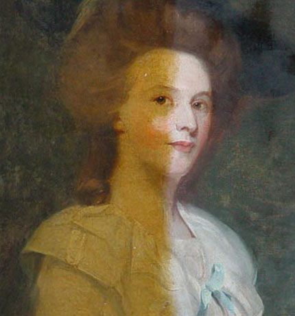 A portrait of a young woman, oil on canvas, artist unknown but thought to be after Joshua Reynolds. The half-cleaned painting demonstrates well the extent of accumulated surface dirt and discolouration of varnish layers, probably over a 200 year period.